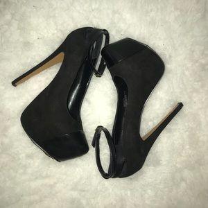 Black suede and leather platform heels